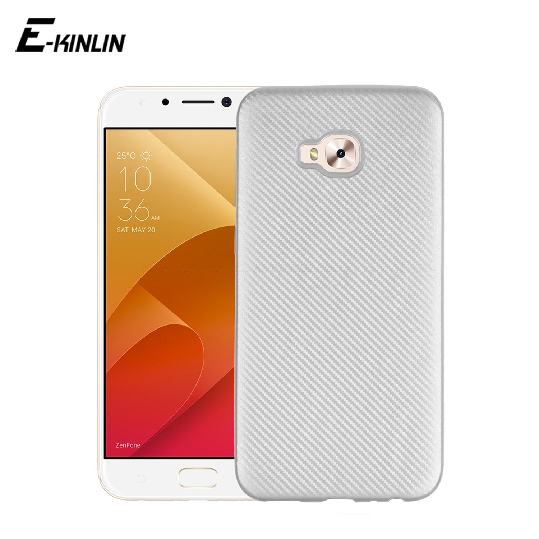 Carbon Fiber Texture Case For Asus ZenFone 4 Selfie Lite Pro ZB553KL ZD553KL ZD552KL Soft Silicone Phone Protective Back Cover
