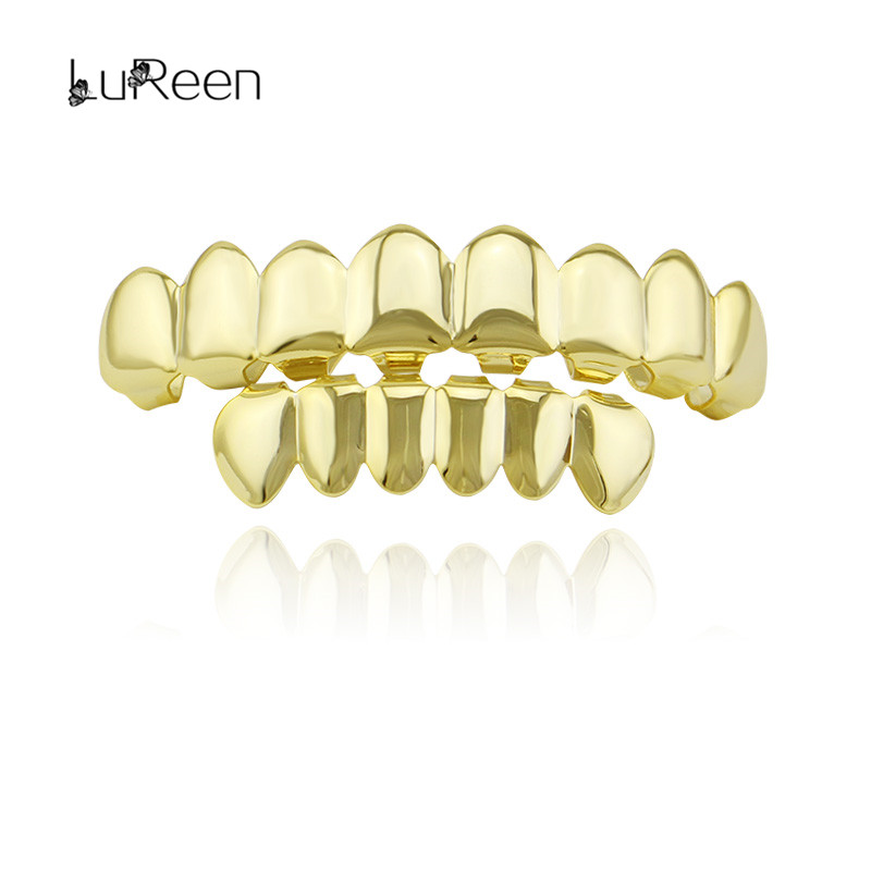 LuReen Gold Grills Tooth Grillz Dental Teeth Caps Jewelry