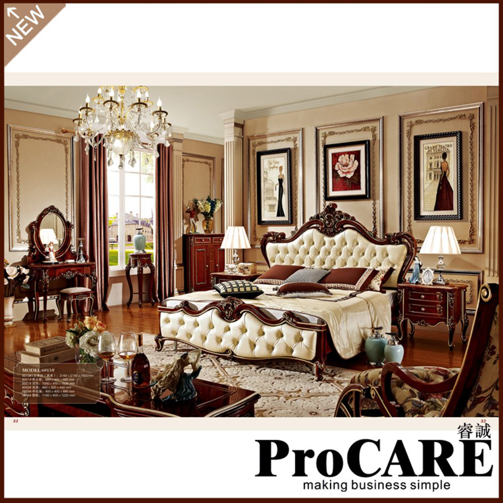 European Style Double Bed 1.8 Meters Leather Wood Bed American Princess Bed  Soft French Wedding Bed Dark Furniture