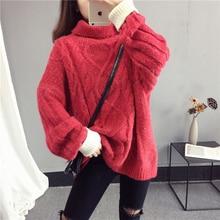 купить Women Turtleneck Sweater 2018 Autumn Winter New Pullover Tops Female Loose Fashion High Collar Warm Knit Sweater Pullover NO620 онлайн