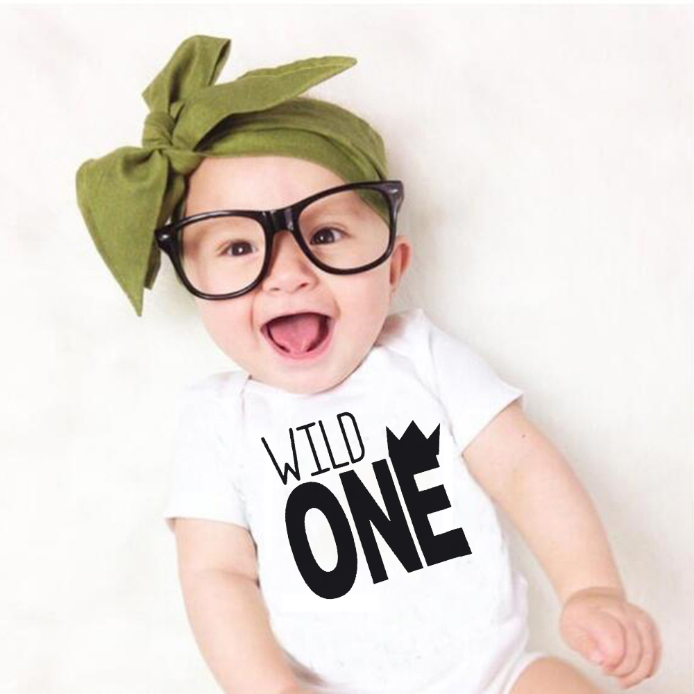 Newborn Baby Boys Girls Romper Cute Baby Clothes Toddler Romper Wild One Letter Print Jumpsuit Outfits Clolthing 0-24M