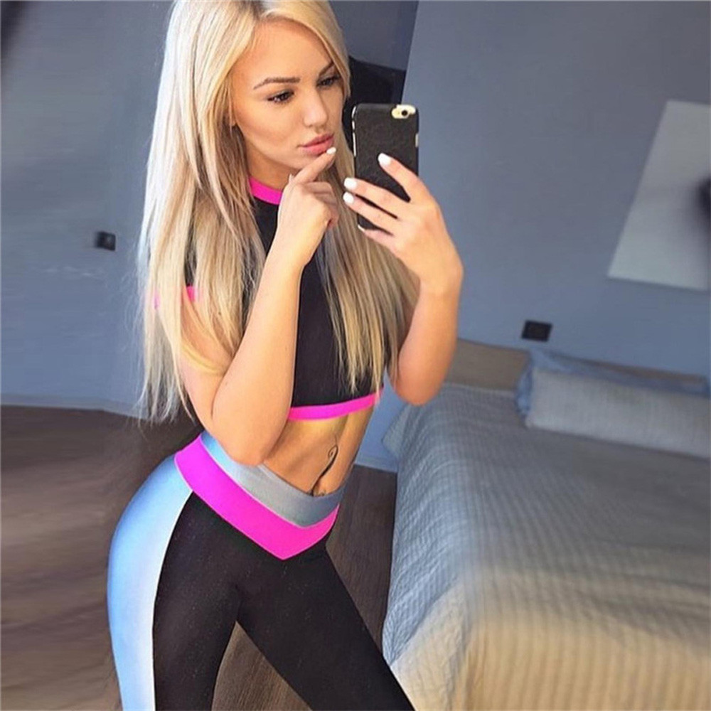 Women Geometric Splice Patchwork flexible track Sports Gym sports trousers Running Fitness Leggings Pants Workout Sportswear