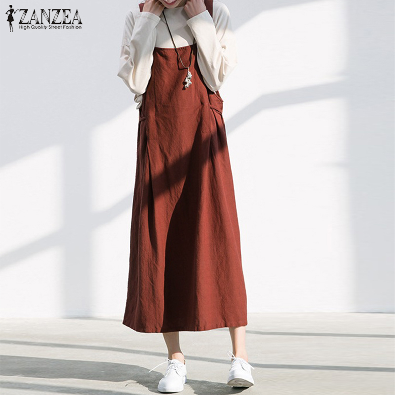 2018 Summer Overalls Dress ZANZEA Women Strappy Sleeveless Solid Loose Cotton Linen Suspense Casual Dungarees Vestido Plus Size