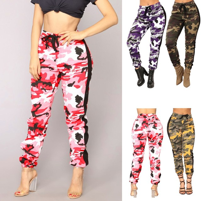 b7f47f99dc89e 2018 Womens made of high quality materials Camo Trousers Casual Pants  Military Army Elastic waistt Camouflage Pants  25
