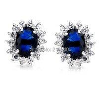 Natural Sapphire Earring Stud 925 Sterling silver Woman Fine Elegant Blue Gem Princess Jewelry Girl Birthstone Christmas Gift