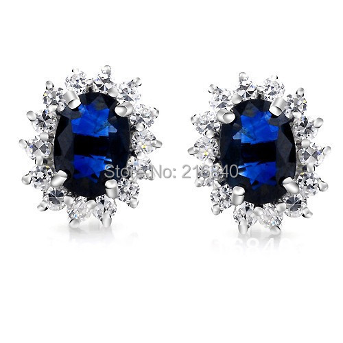 Saphir naturel boucle d'oreille Stud 925 en argent Sterling femme Fine élégante bleu gemme princesse bijoux fille pierre de naissance cadeau de noël