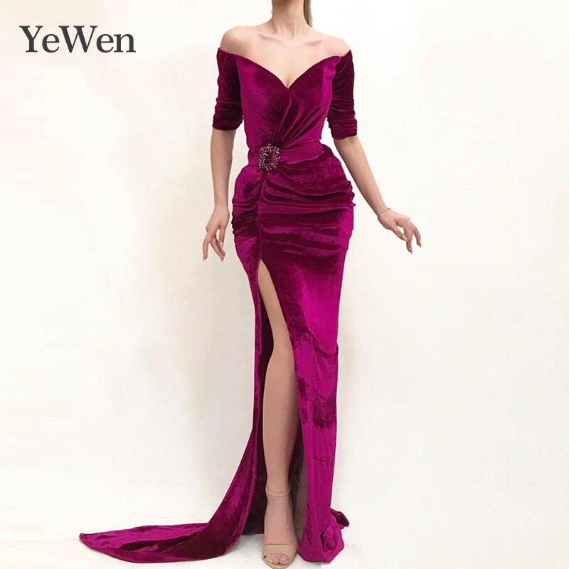 V-neck Sexy   Evening     Dresses   Wrap Purple Formal   Dress   Women Elegant High Bifurcate   Evening   Gowns for Women   Evening     Dress   Arabic