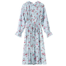 Long-sleeved floral dress female spring and autumn 2019 new chiffon retro small fresh womens over-the-knee W85