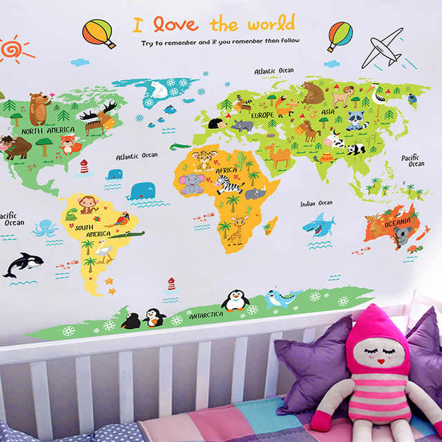 % Cartoon world map PVC DIY Self Adhesive Vinyl Wall Stickers Bedroom Home  Decor for kids Room Decoration Art Wall Decal Mural