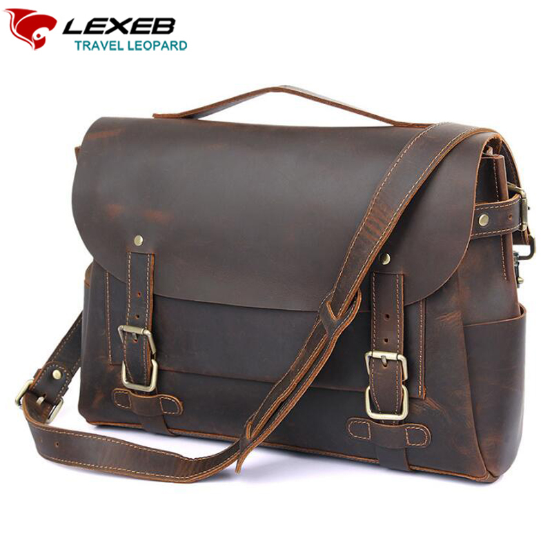 LEXEB Full Grain Crazy Horse Leather Satchel Briefcases For Men 14 Inch Laptop Bag Vintage Top Quality Messenger Bags,Tote Brown lexeb brand lawyer briefcase vintage crazy horse leather men laptop bag 15 inches high quality office bags 42cm length brown