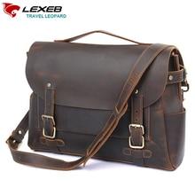 LEXEB 브랜드 남성용 빈티지 클래식 정품 천연 가죽 서류 가방 14 노트북 캐주얼 가방 브라운 고품질 메신저 가방