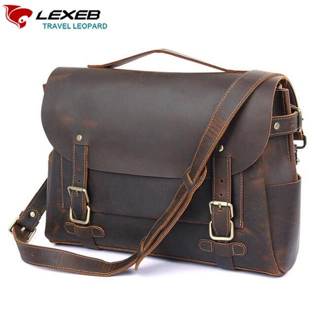48f60db304c14 Lexeb مجنون الحصان الجلود والحبوب الكاملة حقيبة حقائب للرجال 14 بوصة محمول  حقيبة خمر أعلى جودة