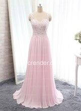 2016 heißer Verkauf sexy elegante A-line rosa Chiffon nach Maß Designer Sleeveless Kristall Appliques bodenlangen Prom Abendkleid