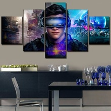 5 Panel Modern Canvas Printed Movie Ready Player One Tye Sheridan Poster Wall Art Home Decorative Living Room Modular Pictures