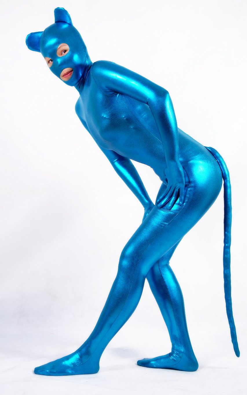 funny Unisex Fancy Dress Blue Shiny Metallic cat Animal Zentai Suit With Tail For Halloween Party Open Eyes mouth