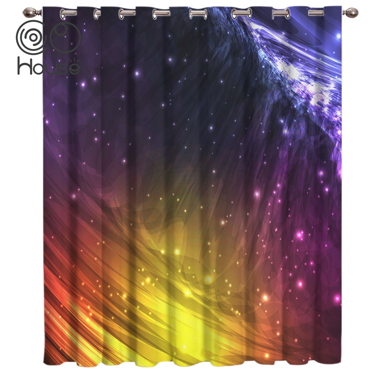CoCoHouse Abstract Galaxy Scenery Curtain Lights Living Room Bathroom Outdoor Bedroom Decor Kids Curtain Panels With Grommets