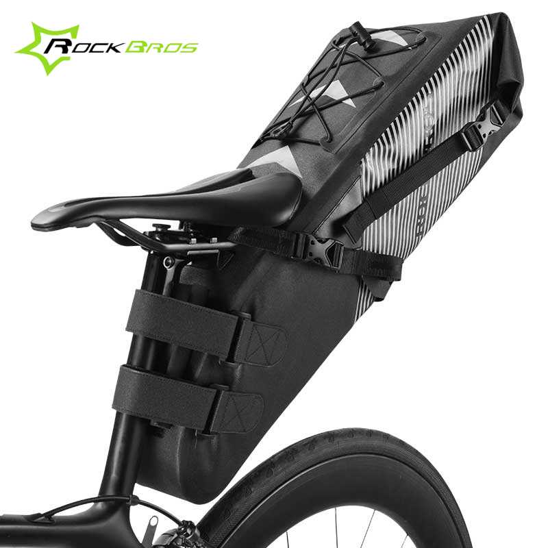 Rockbros Full Waterproof Bicycle Bag Large Capacity Saddle Storage Bag Pannier Road Mountain Bike Bag Travel Cycling Accessories rockbros titanium ti pedal spindle axle quick release for brompton folding bike bicycle bike parts