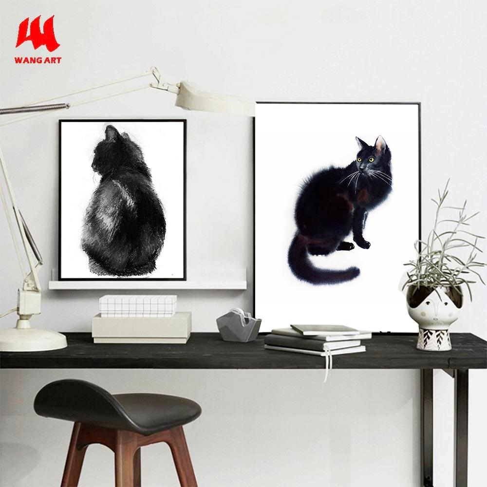 >WANGART <font><b>Watercolor</b></font> <font><b>Animal</b></font> black white Cat Canvas Art Print Painting Poster Wall Pictures for <font><b>Home</b></font> Decor Giclee Print JY584-586