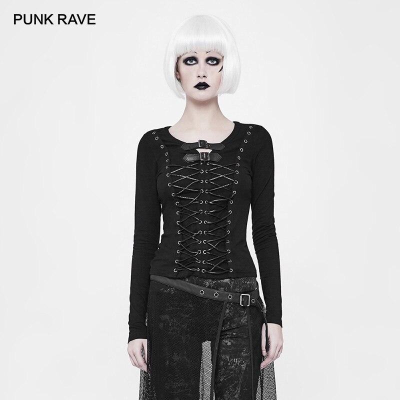 PUNK RAVE Punk Biker Long Sleeve Shirts Bandage Personality Black T shirt Dark Knitted Women's T Shirt with Corns Rope Design
