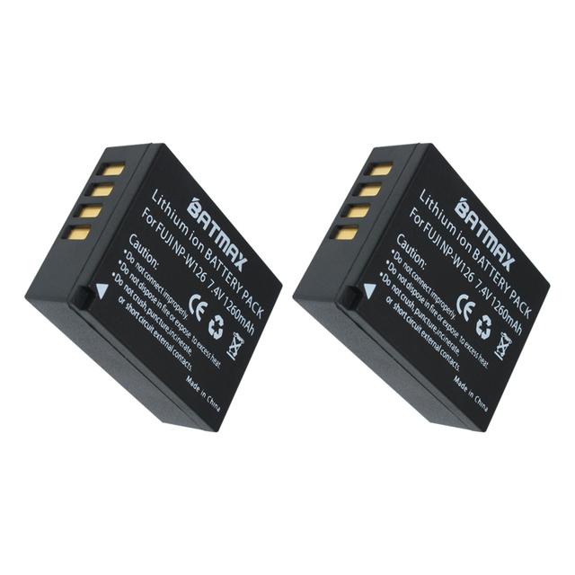 2Pcs NP-W126 (1260mAh) W126 Batteries for Fujifilm X-E1 XE1 X-E2 XE2 X-A1 X-M1 X-M2 X-T1 XT1 X-Pro1 XPro1 HS33 HS30 HS50 EXR