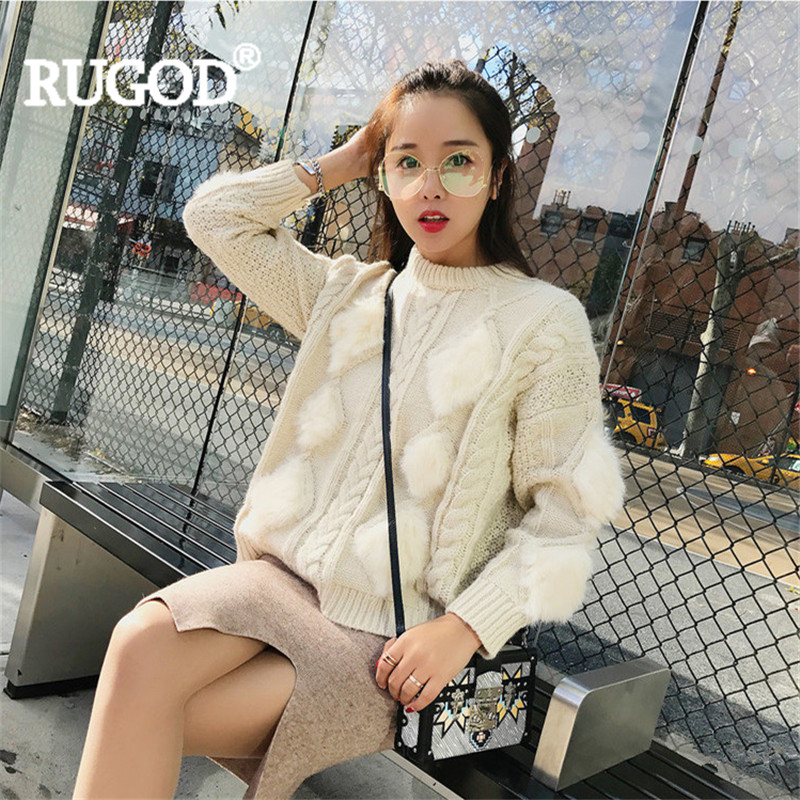 RUGOD 2018 New Fur Patchwork Diamond Check Pattern Knitted Sweater Women Autumn Winter Long Sleeve Thick Pullover Sueter Mujer