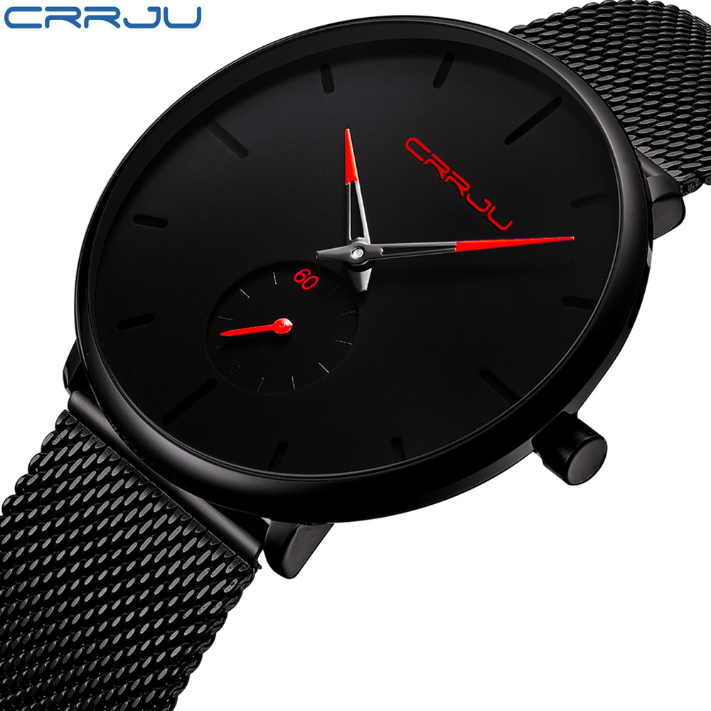 CRRJU Fashion Mens Watches Brand Luxury Quartz Simple Watch Men Casual Slim Mesh Steel Waterproof Sport Watch Relogio Masculino
