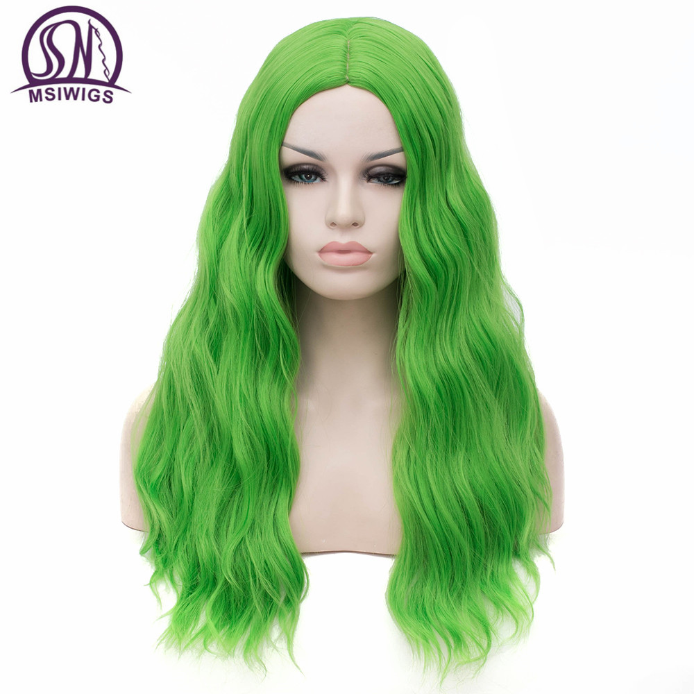 MSIWIGS Wavy Synthetic Wigs for White Black Women Long Green Wig Cosplay Heat Resistant Rose Net Natural Hair with Bangs-in Synthetic None-Lace  Wigs from Hair Extensions & Wigs