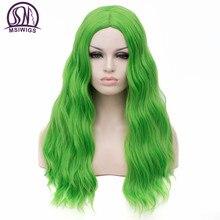 MSIWIGS dalgalı sentetik peruk beyaz siyah kadınlar için uzun yeşil orta hat kırmızı peruk Cosplay isıya dayanıklı pembe gül Net