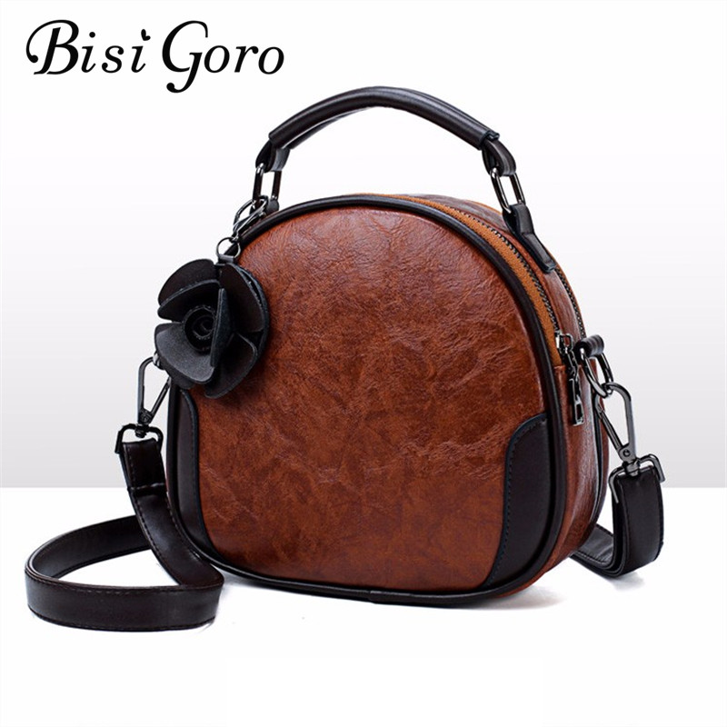 Bisi Goro 2018 Oil Wax Women Handbags Color Women Handbags High Quality PU Leather Patchwork Ladies Messenger Shoulder Bag