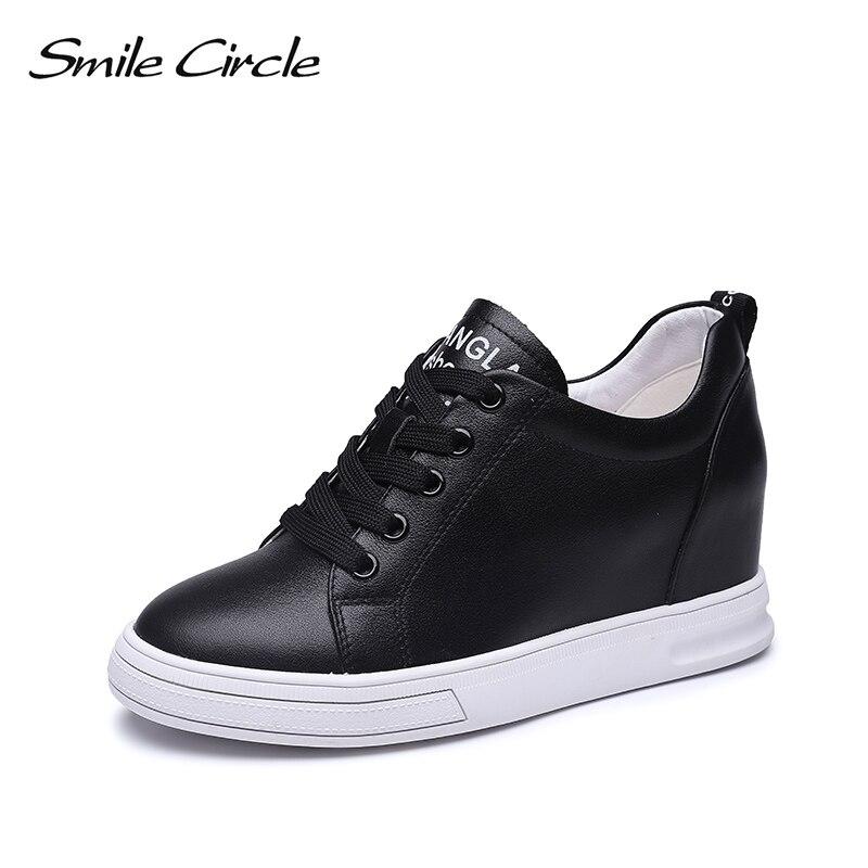 Sonrisa Las 3 Encaje Cm blanco Mujeres Plana Dentro Círculo Zapatillas Deporte Moda Mujer Aumento Cuero Casuales Zapatos Cuñas Genuino Negro Plataforma De rrnT07