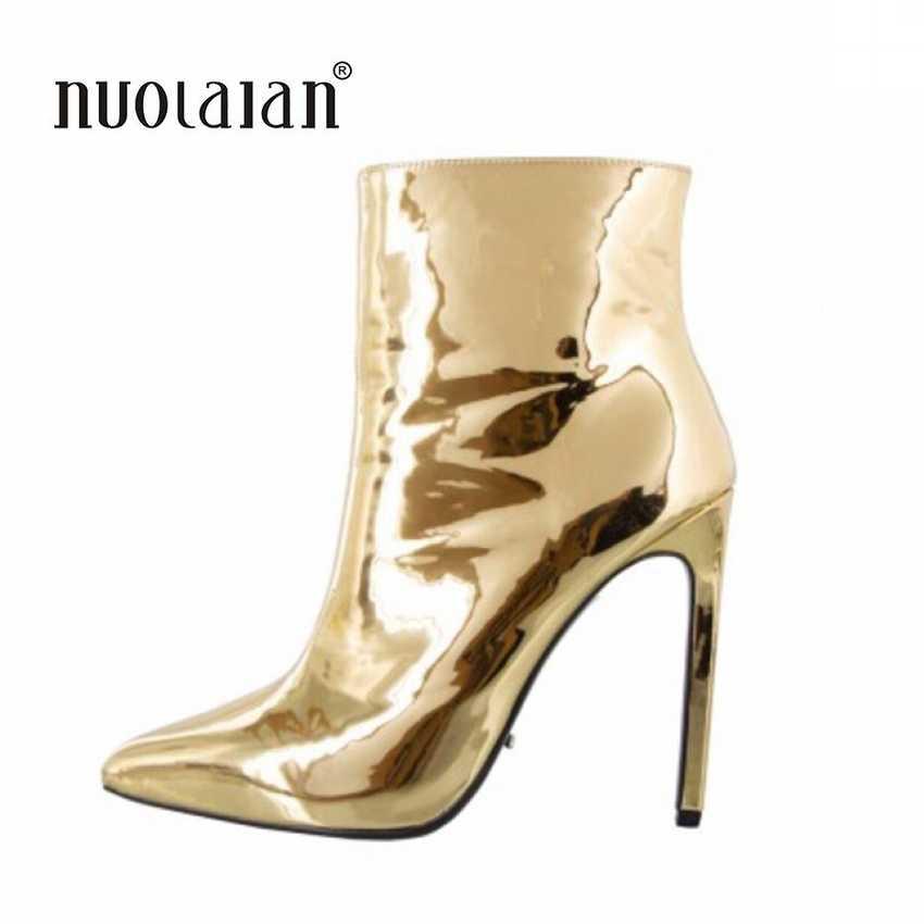 2019 Fashion Vrouwen Laarzen Winter Herfst Hoge Hakken Schoenen voor Vrouwelijke Goud Zilver Schoenen Vrouw Bont Warm Lakleer Enkel laarzen