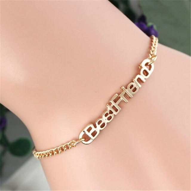 1 Pc Gold Bracelets For Women Pulseras Best Friend Bracelet Femme Jewelry Letter Men