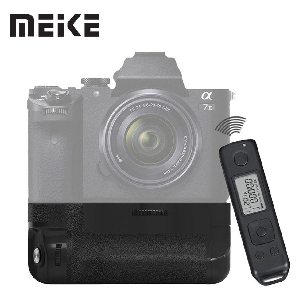 Meike MK-AR7II Vertical Battery Grip for Sony A7II as Sony VG-C2EM with 2.4G Wireless Remote Control neewer meike battery grip for sony a6300 camera built in 2 4ghz remote control work with 1 or 2 np fw50 battery