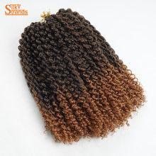 Silky Strands Short Crochet Braids Kinky Curly Hair Extensions Kanekalon Crochet Hair Ombre Bohemian Bulk Braiding synthetic