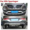 Frete grátis, alta qualidade 2 pcs plástico front + rear bumper guard protector para kia sportage 2010 2012 2013 2014 2015, stylin carro