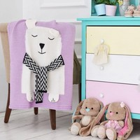 Hot Cartoon Beer Kids Baby Gebreide Deken Gooi Manta Kinderen draagbare airconditioner Knit Dekens Bed Cover 100*130 cm