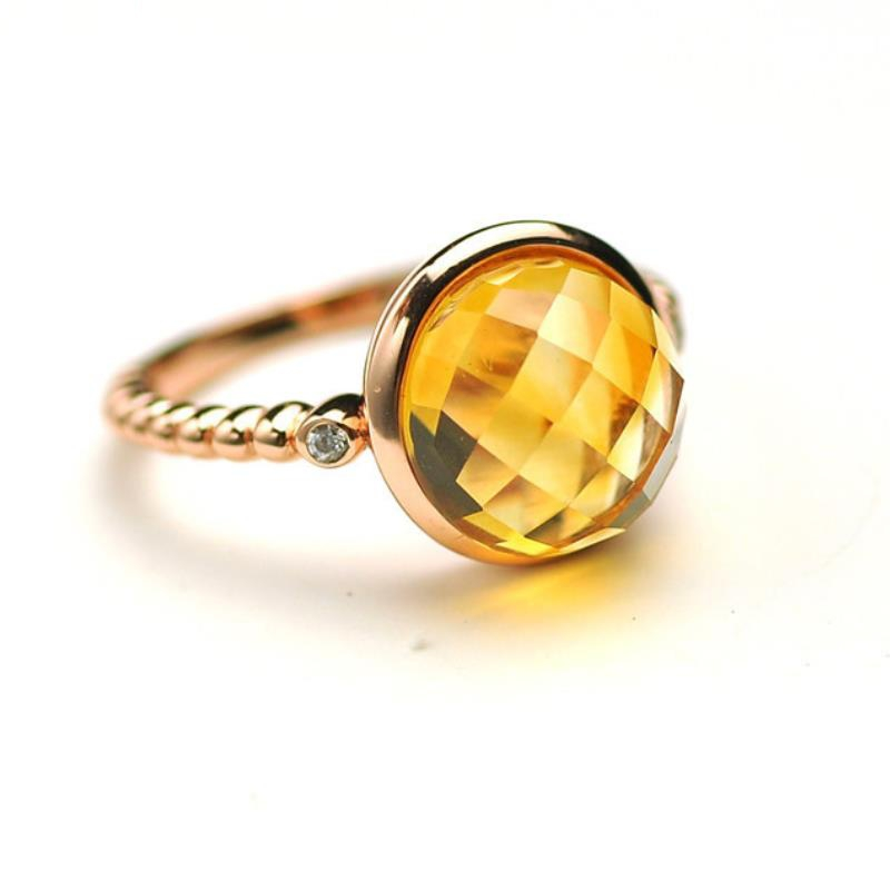 Gemstone Rings Citrine-Ring 925-Sterling-Silver Fine-Jewelry Natural Round Big Women