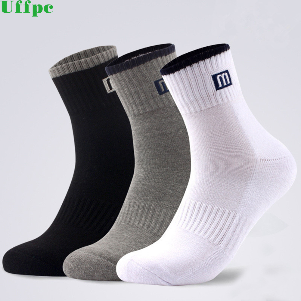 3 Pair Brand New Simple Solid Style Men Socks Business Causal Black Warm Cotton Brethable Anti-Bacterial Man Sock Fashion Women