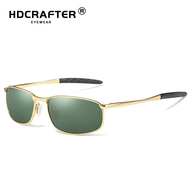 HDCRAFTER Brand Men Polarized Sunglasses man eyewear Full Alloy Rim men sunglasses small lens Driving glasses UV400