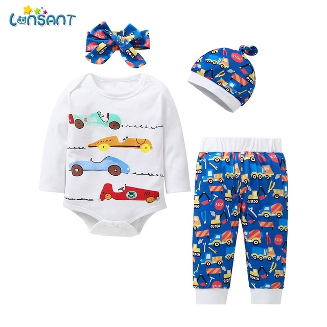 7ff58556a3b LONSANT Newborn clothes sets Infant Baby Boys Long Sleeve Letter Car Print T -Shirt Tops+Pants+Headband+Hat cotton Casual Outfits