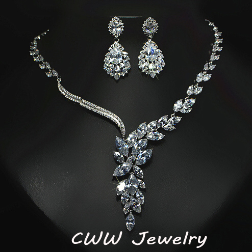 CWWZircons Brand Cubic Zirconia Wedding Jewelry Accessories Bridal Rhinestone Necklace And Earring Sets For Brides T142 cwwzircons long water drop cubic zirconia stone big vintage royal wedding necklace and earring jewelry set for brides t205