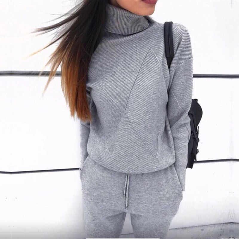秋冬の女性のニットセット 2019 カジュアルニットトラックスーツタートルネックセーター + 冬のズボンの女性スウェット 2 ピーススーツ