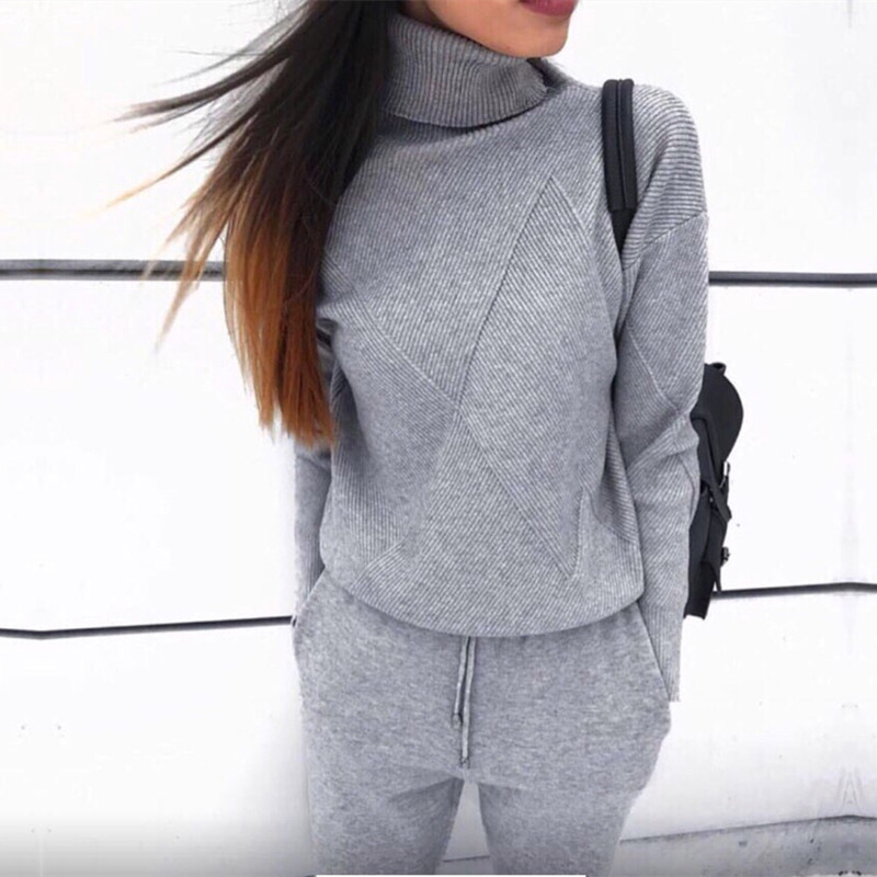 Tracksuit Women 2 Piece Set 2019 Solid Long Sleeve Turtleneck Sweater+High Waist Knitted Pants Female Winter Women Sweater Suit