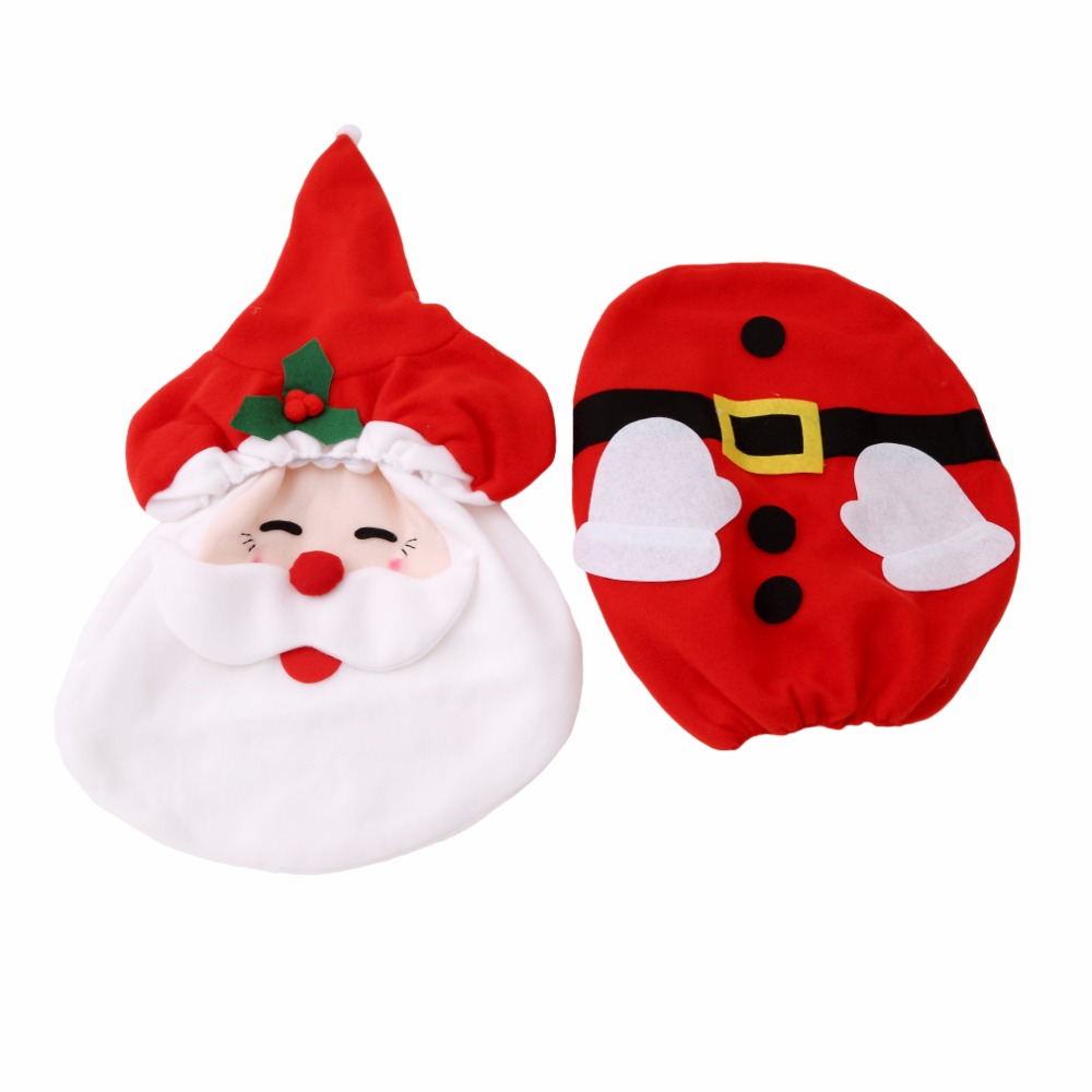 1set Bathroom Wc Red Santa Claus Toilet Seat Cover And Rug
