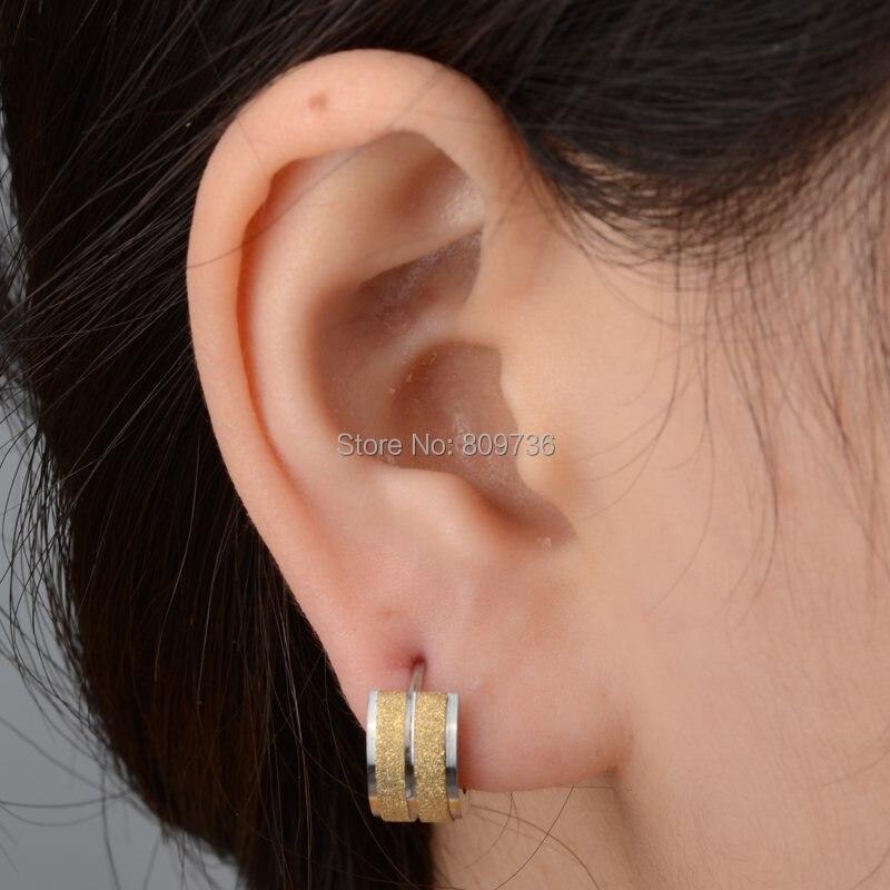 Punk Mens 316L Stainless Steel Huggie Hoop Earrings Gauges Women