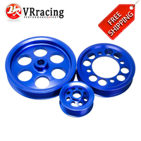 FREE SHIPPING CRANK PULLEY FOR 93 97 TOYOTA SUPRA JZA80 2JZGTE UNDERDRIVE LIGHTWEIGHT CRANK PULLEY (3PCS) BLUE VR6851