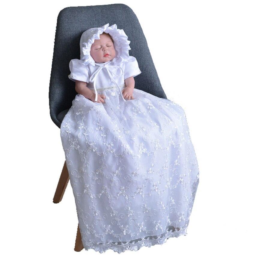 Marque enfant Satin doux pour bébé filles Robe avec capuchon longue Robe de baptême baptême 3 6 9 12 mois Robe Robe de fête d'anniversaire