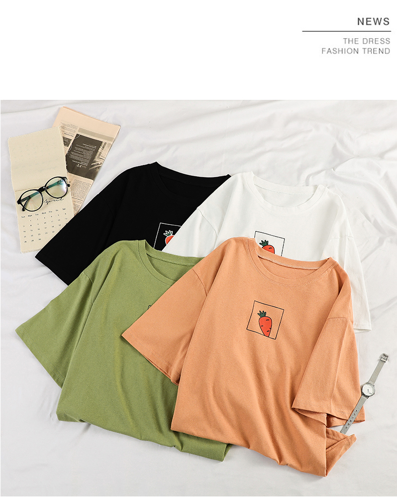 HTB1qElFevWG3KVjSZPcq6zkbXXab - 90s girl Fashion T Shirt Women Kawaii carrot Print Short Sleeved O-neck T-shirts Vintage Ullzang Tshirt Harajuku Top Tees Female