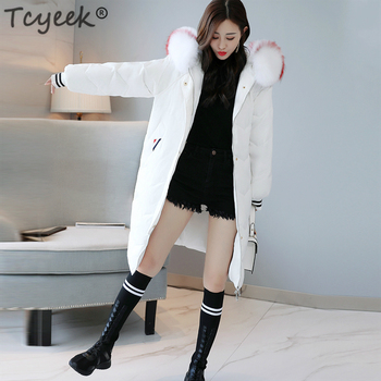 Tcyeek Women Winter Duck Down Jackets Long Down Coat Female Real Fur Warm Thick Warm Hooded Parka Outwear Plus Size Coat LWL1115