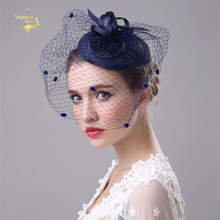 Face Veil Hats for Women Bridal Fascinators Wedding Newly Linen Western Banquet Ladies Party Hair Accessories BH010